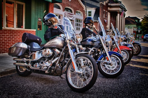 Harleys lined up on Elm St. - Westfield New York