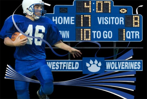 Football composite of player and score board