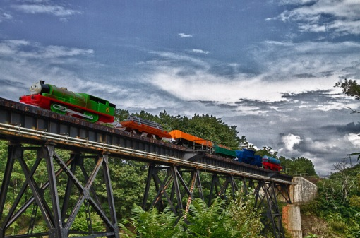 Chautauqua Creek bridge with toy train
