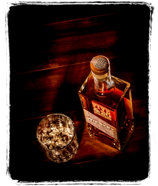 5&20 whiskey bottle and glass