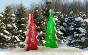 Xmas tree wine bottles
