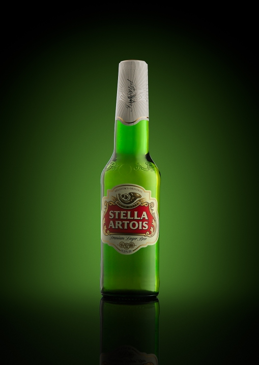 Photography of a bottle of Stella Artois